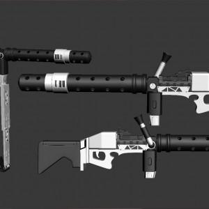 3D Printable Model of First Order Heavy Gunner Stormtrooper's Sonn-Blas FWMB-10 Repeating Blaster (Megablaster)
