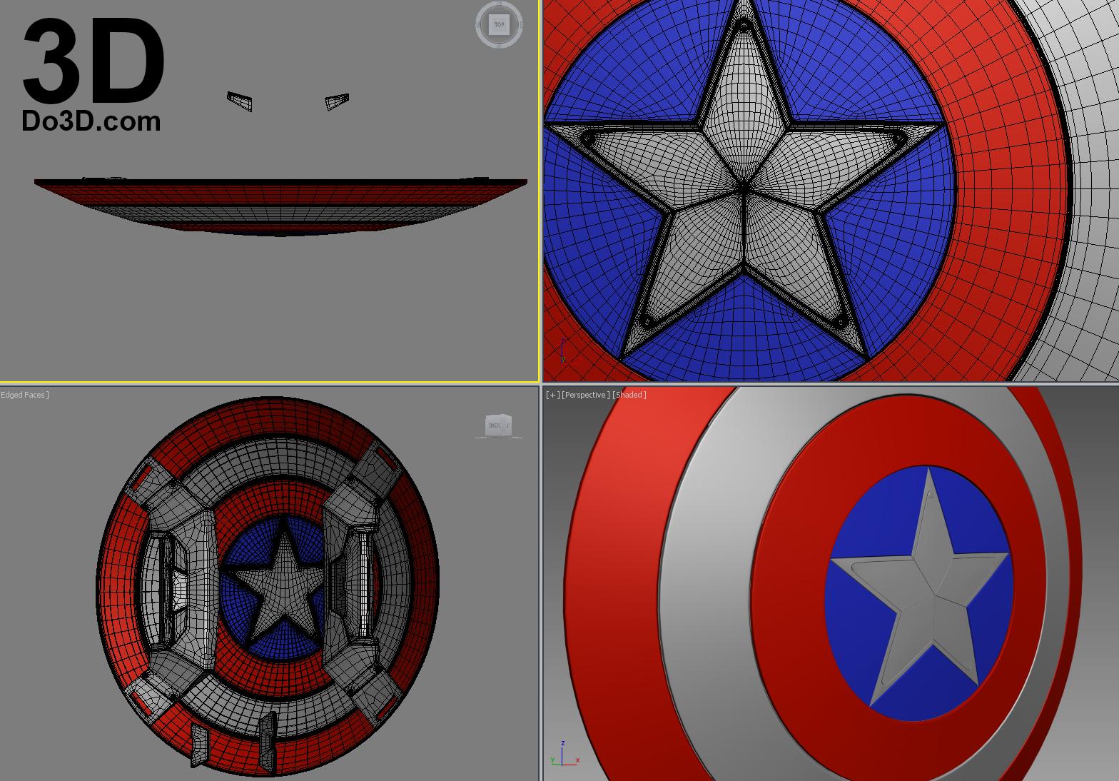 3d Printable Model Of Captain America Civil War Shield Print File Format Stl Do3d Portfolio